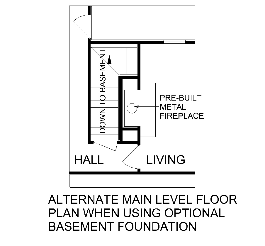 Main Level Stair Location with optional basement image of Greenstone-1904 House Plan