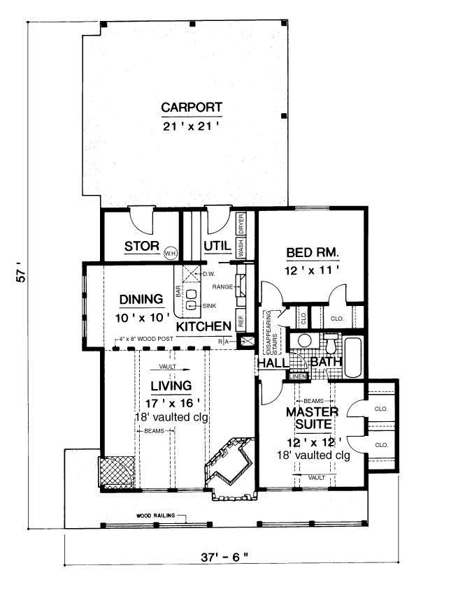 Floor Plan image of Mountain Chalet - 900 House Plan