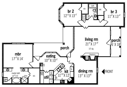 First Floor Plan image of Salem - 2012 House Plan