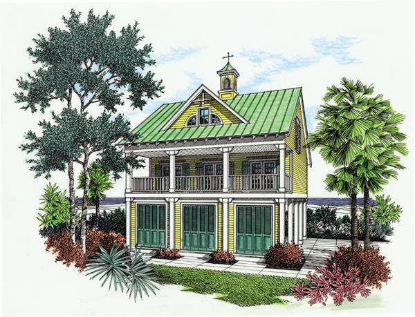 Adorable beach cottage house plans the house designers for Elevated key west style house plans