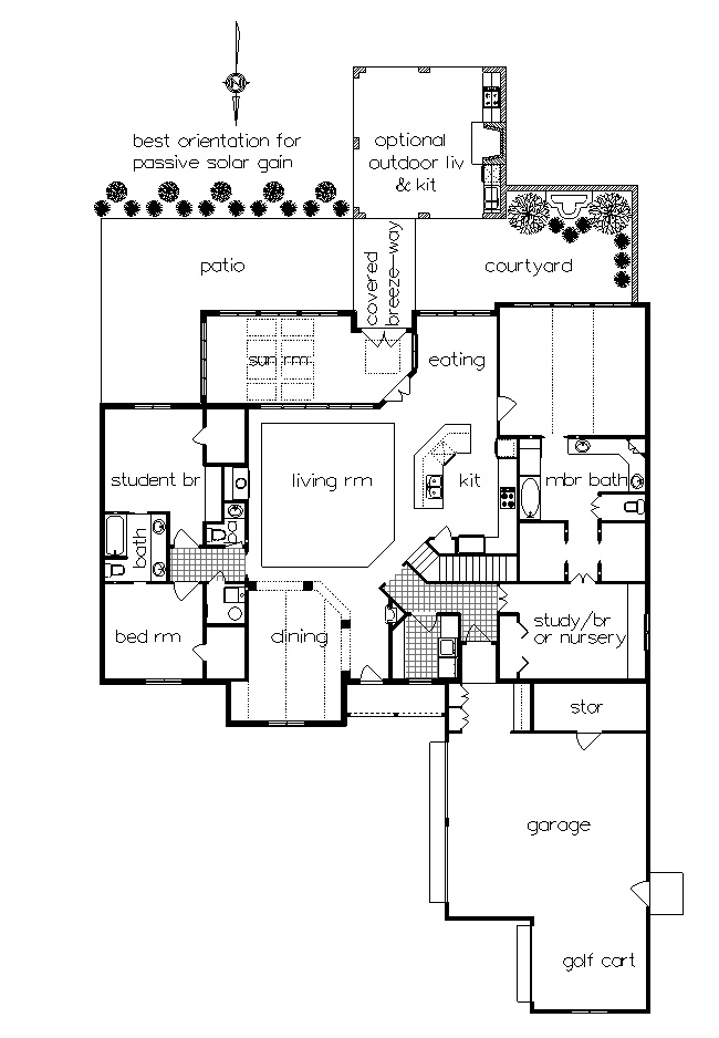 One story home plan with sunroom for Outdoor floor plan