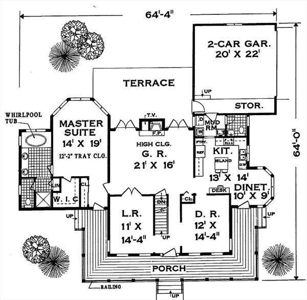 first floor image of Great wrap-around PORCH House Plan