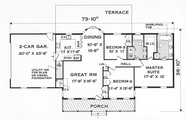 Great one story 7645 3 bedrooms and 2 5 baths the for One story floorplans