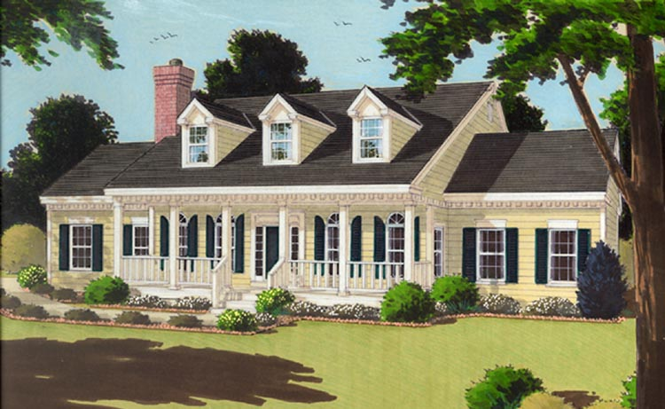 Great one story 7645 3 bedrooms and 2 5 baths the for Single story house plans with front porch