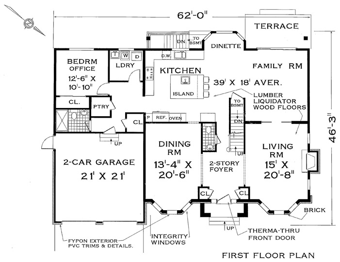 Two story home design for large family for Colonial mansion floor plans