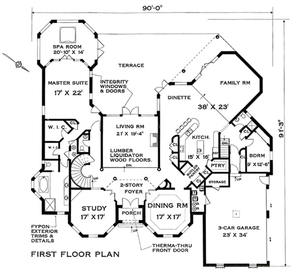 Two story mansion design with six bedrooms for Ron lee homes floor plans