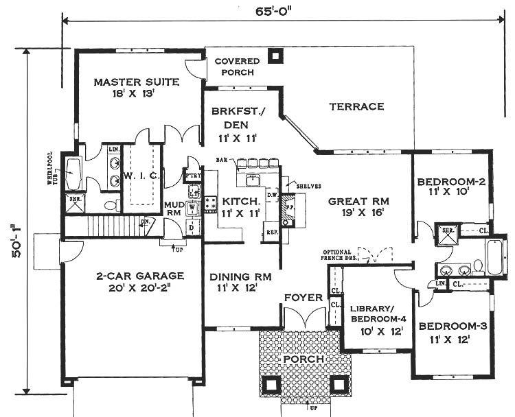 Elegant one story home 6994 4 bedrooms and 2 5 baths for Single story house plans with front porch