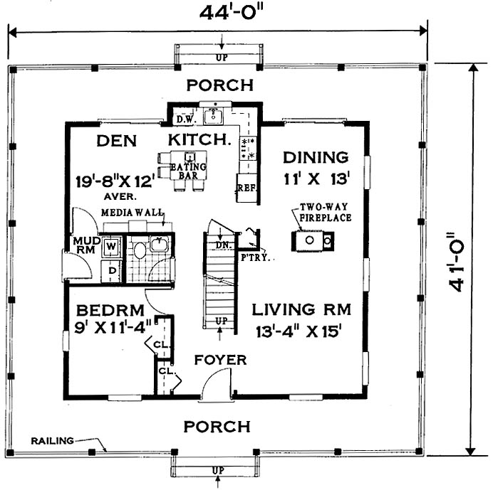 Wrap around porch home 7005 4 bedrooms and 2 baths the for One level house plans with porch