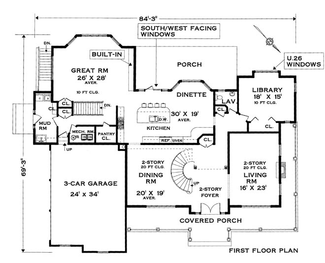 Five bedroom colonial house plan for Colonial home floor plans