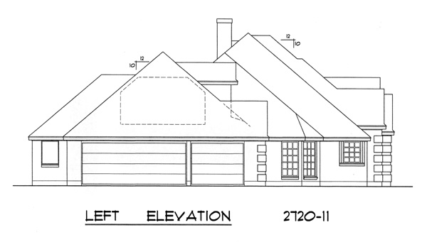 Left Elevation Plan : The woodhaven bedrooms and baths house