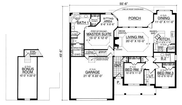 The bungalow 7950 3 bedrooms and 2 5 baths the house for Free 3 bedroom bungalow house plans
