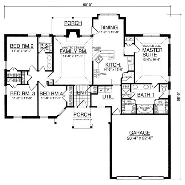 Garage Plan Chp 17570 At Coolhouseplans Com: The Getaway 7952 - 4 Bedrooms And 2.5 Baths