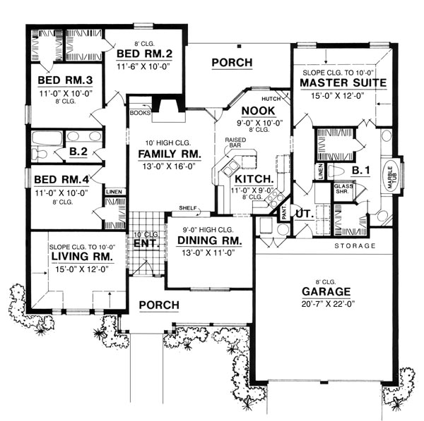 The countryside cottage 8193 4 bedrooms and 2 5 baths for 1950 bungalow house plans