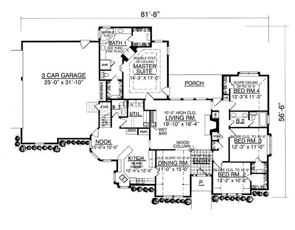 Floor Plan The Beautiful 7964  4 Bedrooms and 2 Baths House Designers