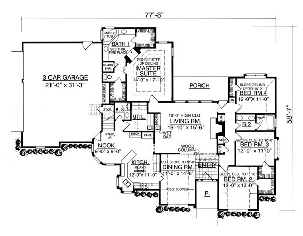 The Elegant 7965 - 4 Bedrooms and 2 Baths | The House Designers