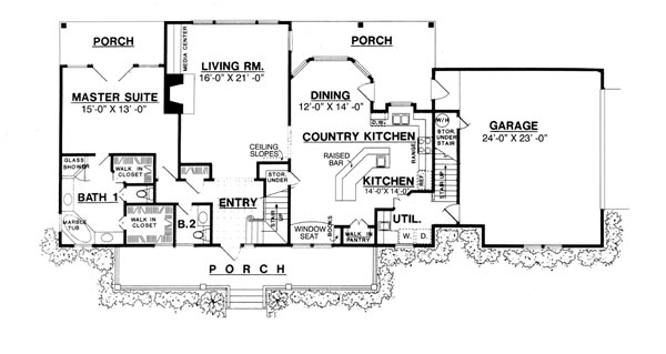 The country kitchen 8205 3 bedrooms and 2 baths the for Small house plans with big kitchens