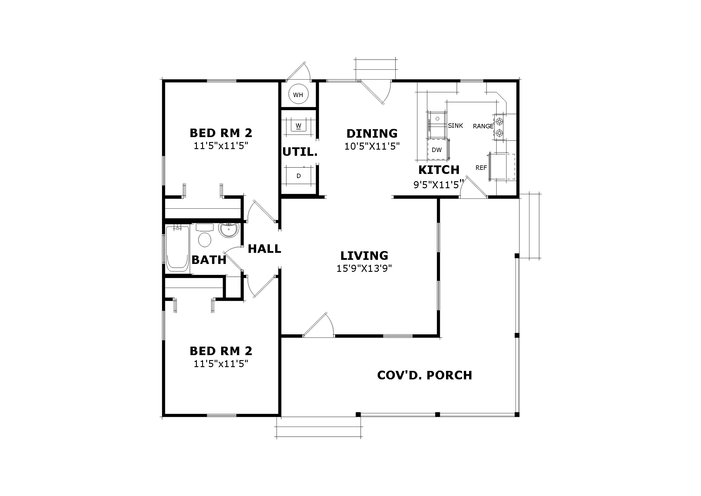 Willow bend 5218 2 bedrooms and 1 5 baths the house designers - Home plan simple ...