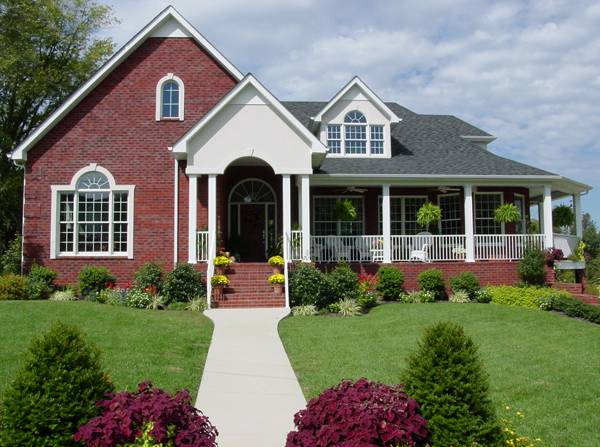 Bricks colonial and porches on pinterest for Brick country house plans