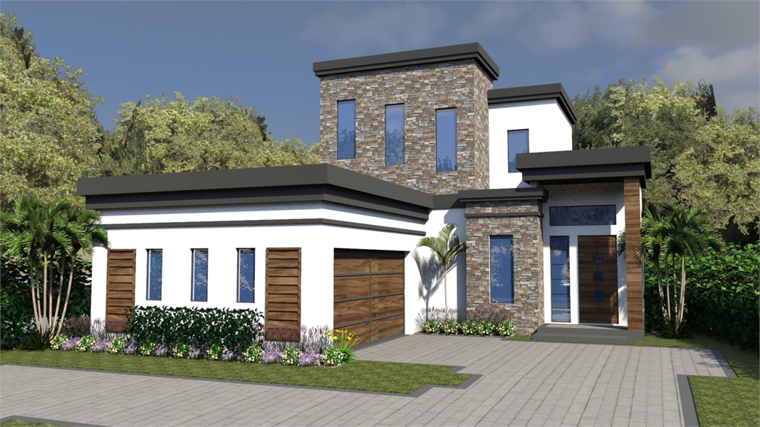 2 story modern house plan with lanai for Cost to build a 2 story house
