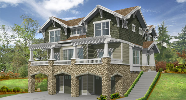 Touchstone 3214 3 bedrooms and 2 baths the house designers for Three story house plans narrow lot
