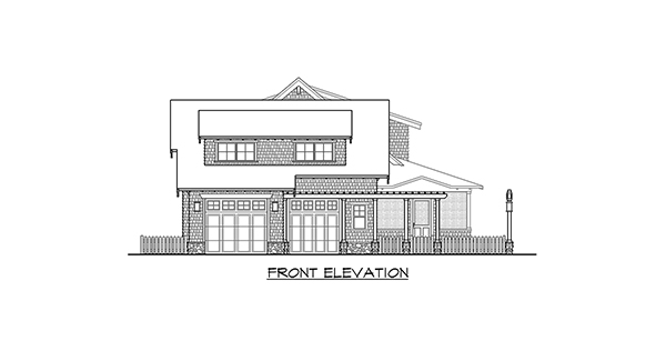 Front Elevation Engineering Drawing : Four bedroom cottage house plan