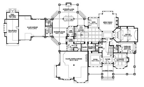 Paradise lodge 3237 7 bedrooms and 8 baths the house for Lodge house plans with pictures