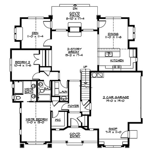 Leawood 3241 2 bedrooms and 2 5 baths the house designers for Fireplace floor plan
