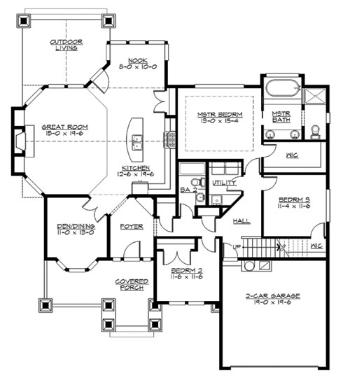 Brownstone 3247 4 bedrooms and 3 5 baths the house for Brownstone house plans
