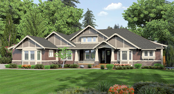 Featured house plans one story plans the house designers for Single story ranch style homes