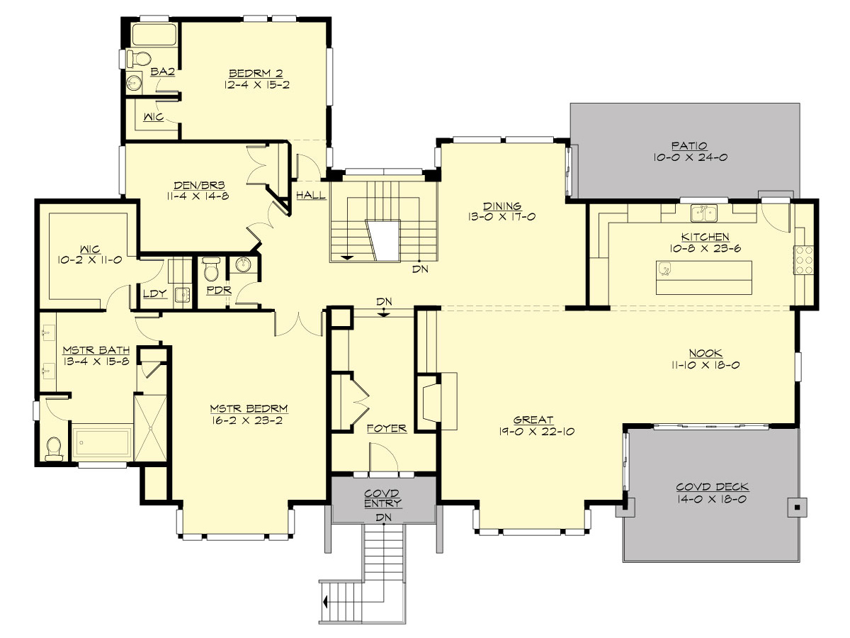 Two story contemporary house plan for Income suite house plans