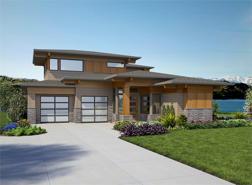 4-Bed Contemporary Prairie House Plan 7474 with Bonus Room