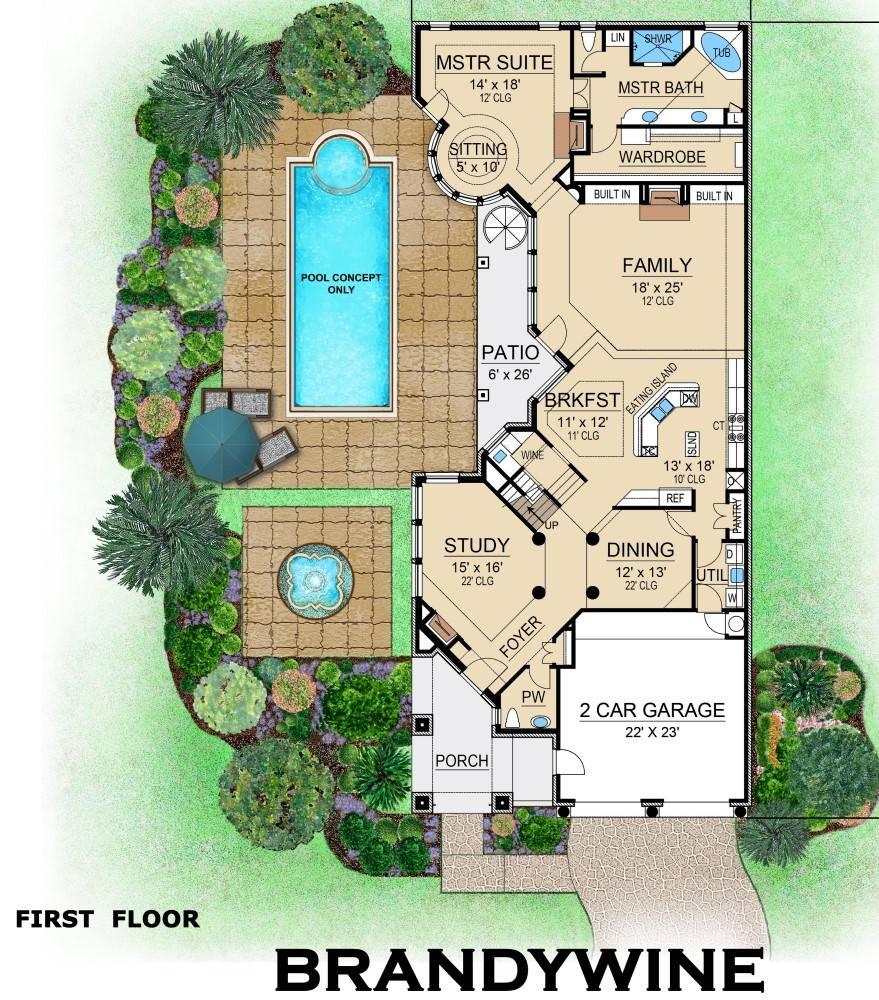 Two Story European Style House Plan 6400 Brandywine