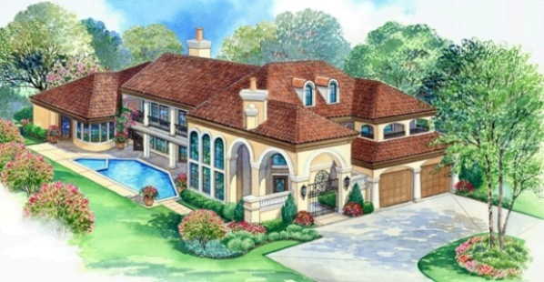 Tuscan Villa Floor Plans: Tuscan Villa House Plan
