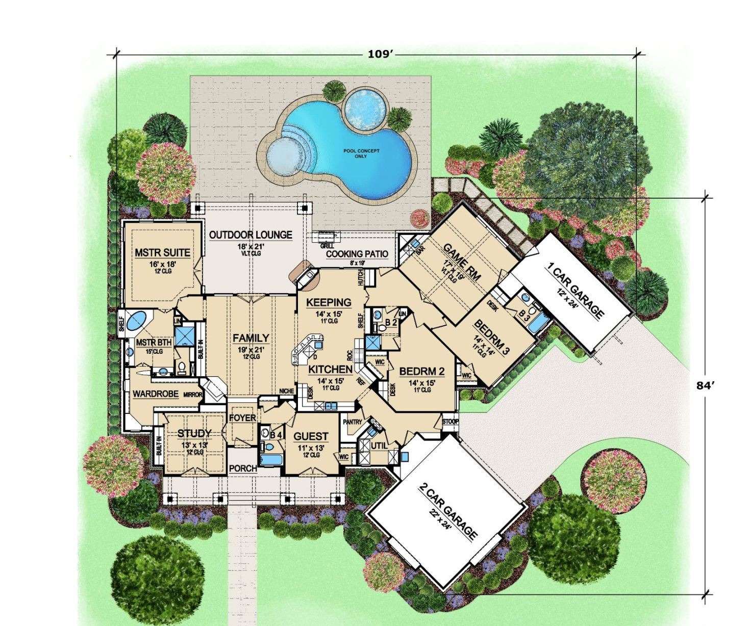 Sprawling one story home with four bedrooms for Mansion home plans