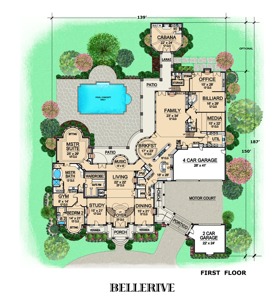 Mansion Floor Plans: Two-story French House With Seven Bedrooms
