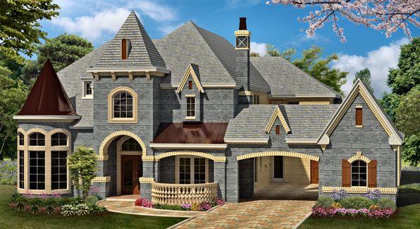 European estate house plan with luxury
