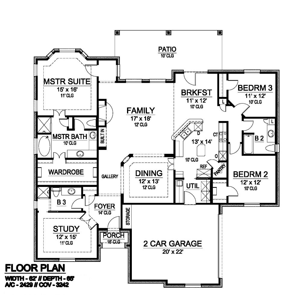 floor plan for my house bradford 6412 3 bedrooms and 3 5 baths the house designers 4102