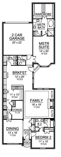 One story house plan with two bedrooms for One story house plans for narrow lots
