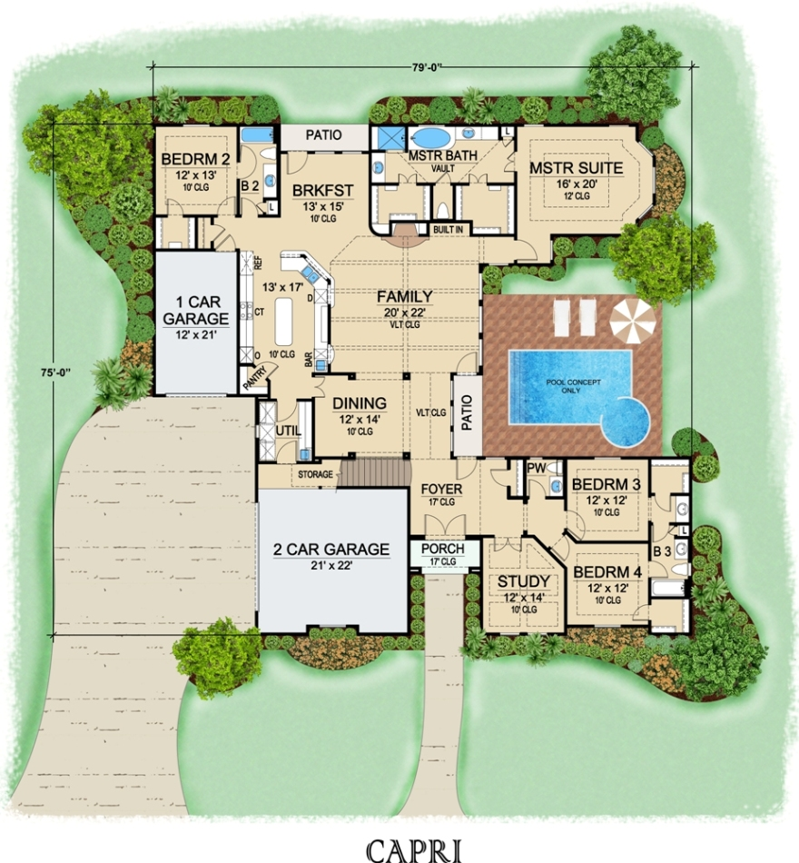 Capri 6778 3 bedrooms and 2 baths the house designers for Capri floor plan