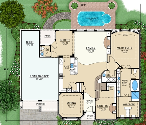 Cedar point 4854 4 bedrooms and 3 5 baths the house for First floor master home plans