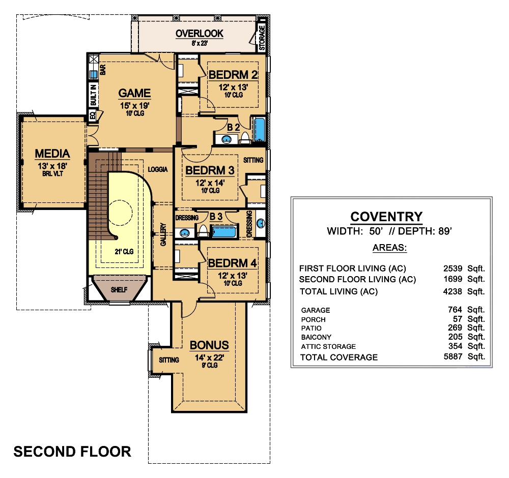 Coventry 6804 4 Bedrooms And 3 Baths The House Designers