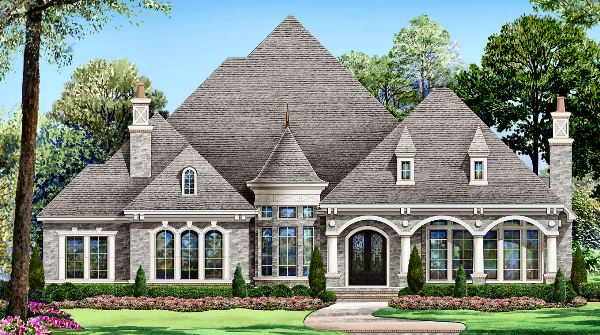 Gray stone 4521 4 bedrooms and 3 baths the house designers for Stone house plans