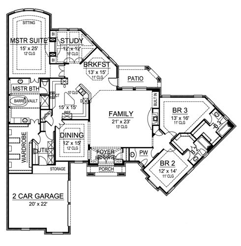 Traditional Luxury One Story House Plan