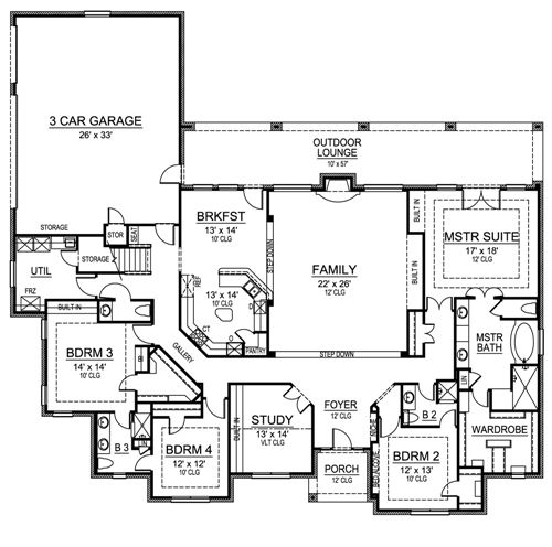 Ranch Home Plan with Sunken Family Room