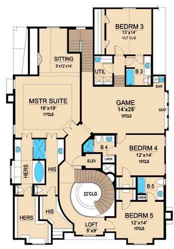 Mercedes 4702 5 Bedrooms And 5 Baths The House Designers