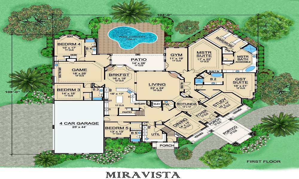 Mira Vista 5338 5 Bedrooms And 6 Baths The House Designers
