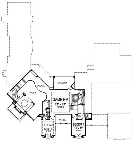European house plan with guest suite for Monticello house plans