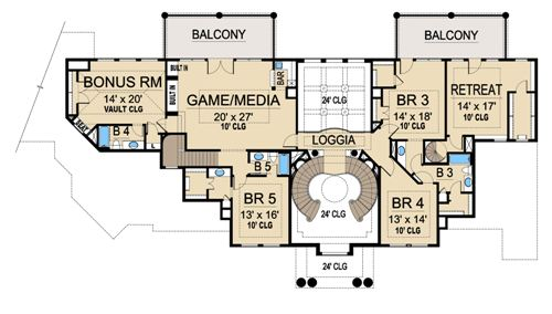 Spacious house plan for large family for Palazzo floor plan