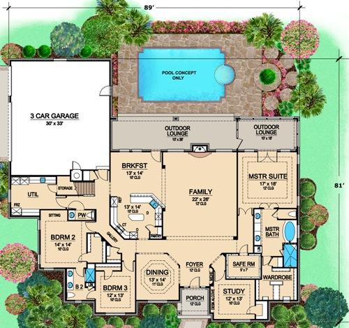 One-story luxury home plan with bonus room