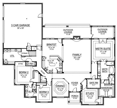 One story luxury home plan with bonus room for Luxury one story house plans with bonus room